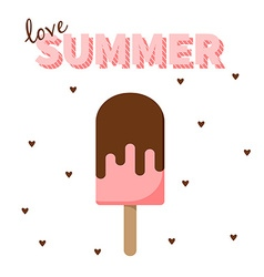 Love summer strawberry popsicle with hearts design vector