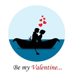 loving couple in a boat vector image