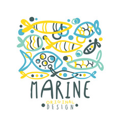 Marine logo design summer travel and sport hand vector