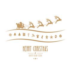 Merry christmas elements santa sleigh isolated vector