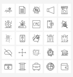 Modern style set 25 line pictograph grid based vector