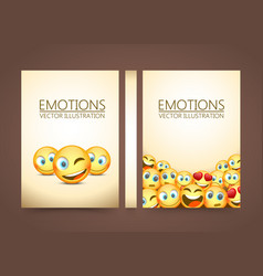 Modern yellow laughing three emoji emotions vector