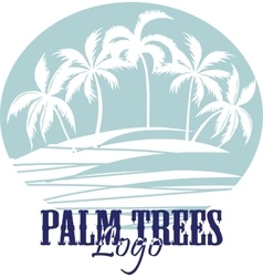 Palm trees on the beach logo silhouette - vector