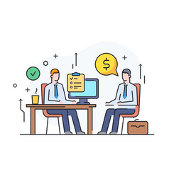 partners discuss work on a startup investing vector image