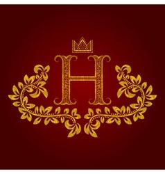 Patterned golden letter H monogram in vintage vector