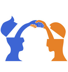 people head handshake vector image