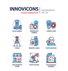 Photography - line design icons set vector