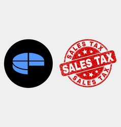 pie chart icon and grunge sales tax vector image