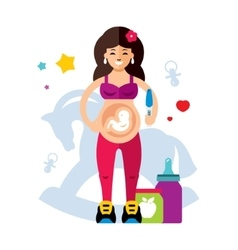 Pregnancy and woman Flat style colorful vector image