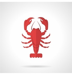 Red crawfish flat color icon vector image
