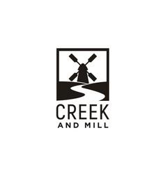 river creek and wind mill farm field logo design vector image