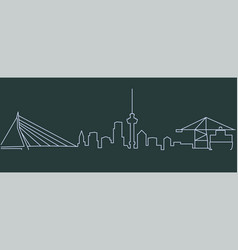 Rotterdam single line skyline vector