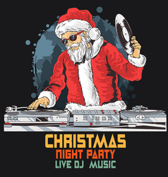 santa claus dj christmas music party 2 vector image