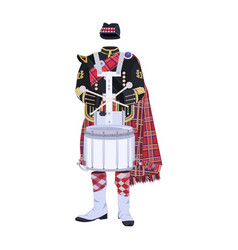 Scottish traditional clothing with drum vector