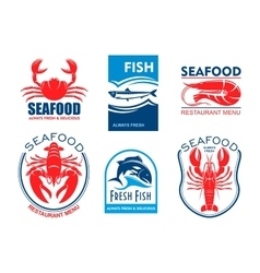 Seafood icons Fresh fish restaurant menu vector
