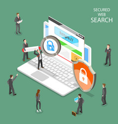 Secure web search flat isometric vector