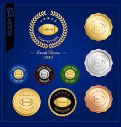 Set of american football or rugby badge label vector