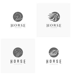Set of fast speed horse logo design horse logo vector
