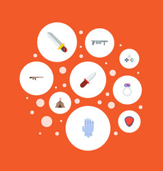 Set of game icons flat style symbols with gauntlet vector
