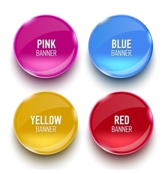 Set of glass pink blue red and yellow banners vector