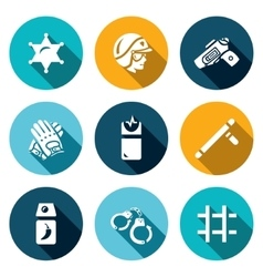 Set of Police Icons Sheriff Law Weapon vector image