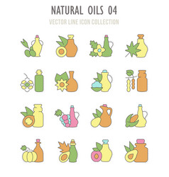 set retro icons natural oils vector image