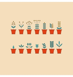 Set with Flowerpot Icons Nature Collection Eco vector