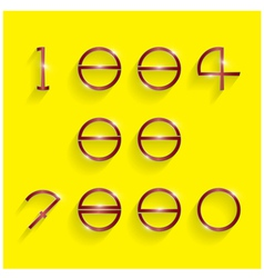 Shinning circle digit style on yellow background vector image