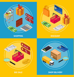 shopping concept big sale discount and shop vector image