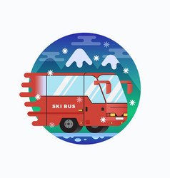 Ski or snowboard resort shuttle bus flat vector