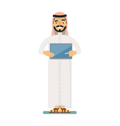 Smiling muslim businessman with tablet computer vector