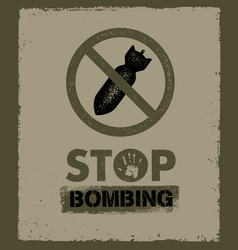 Stop bombing anti military design element vector