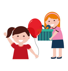 two girl with birthday gift and balloon vector image