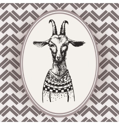 Vintage Hand Drawn Portrait goat vector