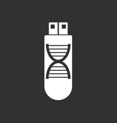 White icon on black background dna memory vector