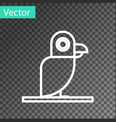 White line pirate parrot icon isolated on vector
