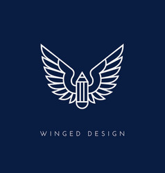Winged pencil vector