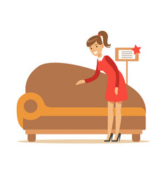 Woman buying classy brown sofa smiling shopper in vector