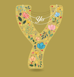 yellow letter y with floral decor and necklace vector image