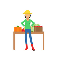 young girl farmer character in rubber boots and vector image