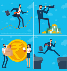 Young man and woman doing business vector