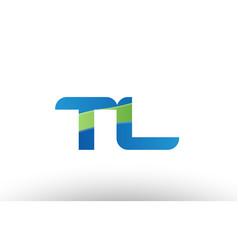 blue green tl t l alphabet letter logo vector image vector image