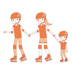 dad mom and son with roller skate and helmet vector image