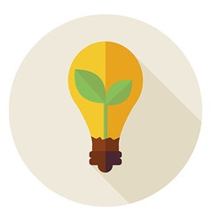 Flat Natural Environment Plant with Idea Lamp vector image vector image