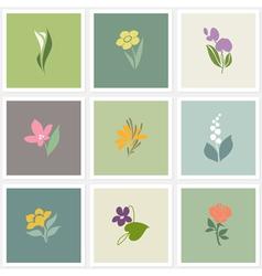 Flower logo templates set vector image