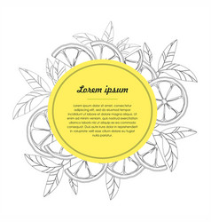 hand drawn circle design template with citrus vector image vector image