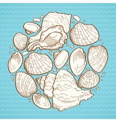 Seashell round design element vector image