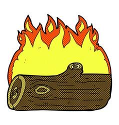 comic cartoon burning log vector image vector image