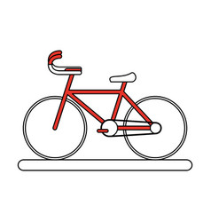 flat line bike with hint of color over white vector image