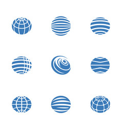 globe icons blue vector image vector image